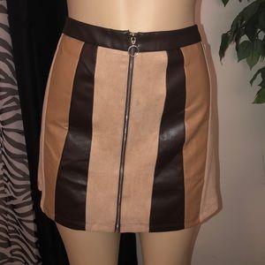 Pleather Skirt W/ Front Zipper